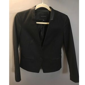 Banana Republic Cropped Blazer w Leather Accents,0